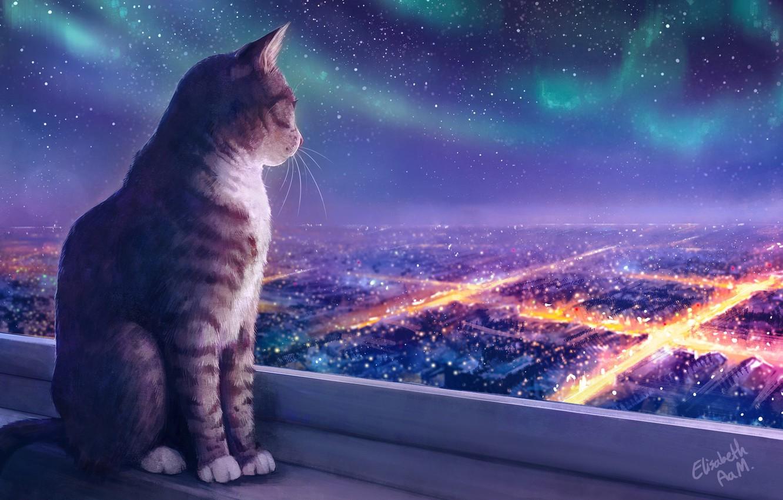 Photo wallpaper Lights, Night, Figure, The city, Stars, Cat, Cat, Art, Cat, Illustration, Animal, Cats, Elisabeth Aarebrot …