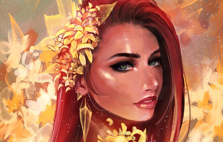 Photo wallpaper Girl, green eyes, art, flowers, face, redhead, artwork, portrait, mouth