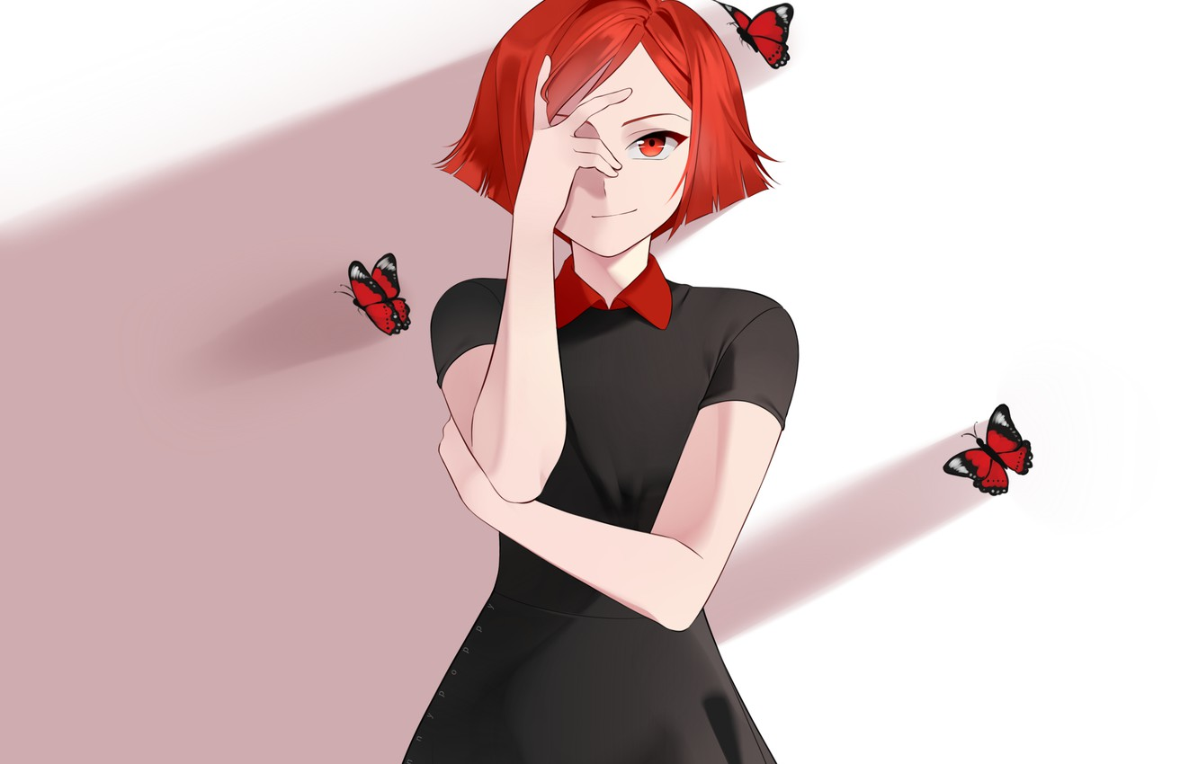 Photo wallpaper look, girl, butterfly, anime, art, red hair, Sunnypoppy