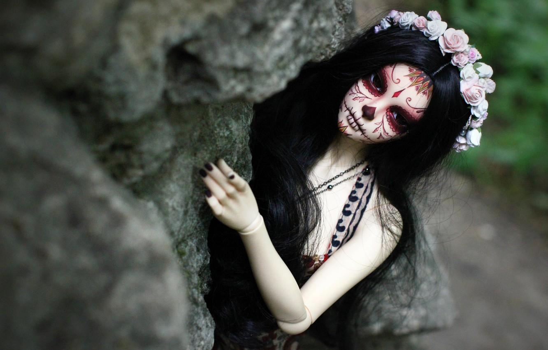 Photo wallpaper girl, face, hair, doll, tattoo, wreath