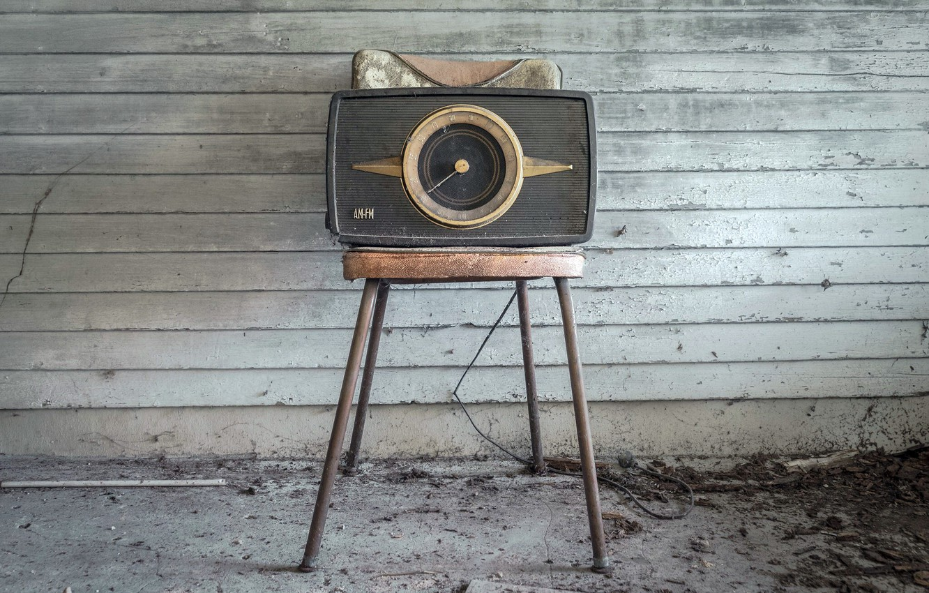 Photo wallpaper radio, chair, receiver