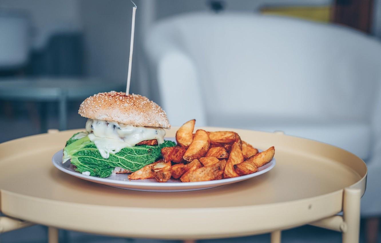 Photo wallpaper plate, hamburger, French fries