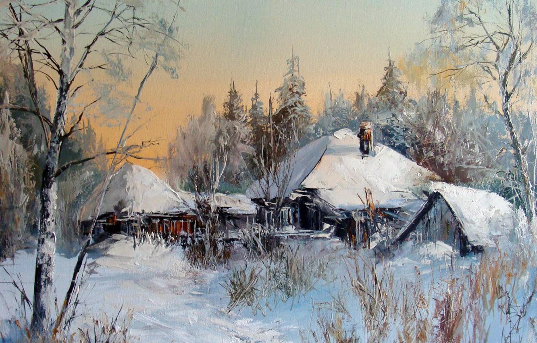 Photo wallpaper winter, oil, picture, painting, canvas, Winter landscape, rural landscape, artist Alexander Lednev