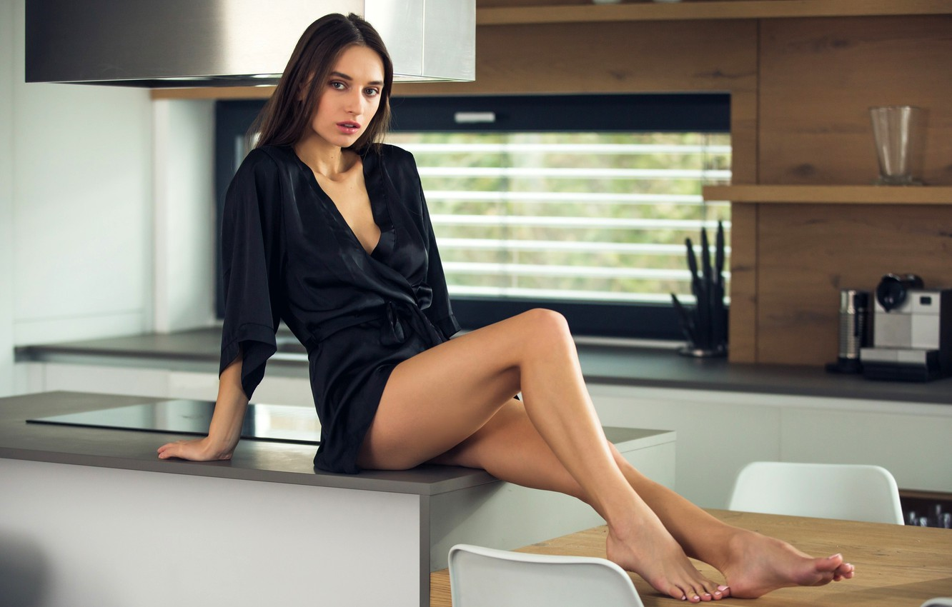 Photo wallpaper pose, table, model, chairs, makeup, figure, hairstyle, kitchen, brown hair, legs, sitting, Bathrobe, in black, …