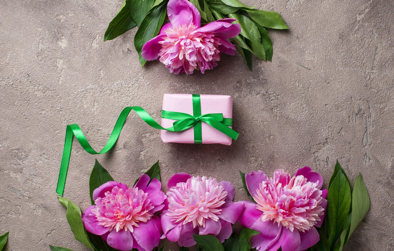 Photo wallpaper flowers, gift, pink, pink, flowers, peonies, peonies, gift box