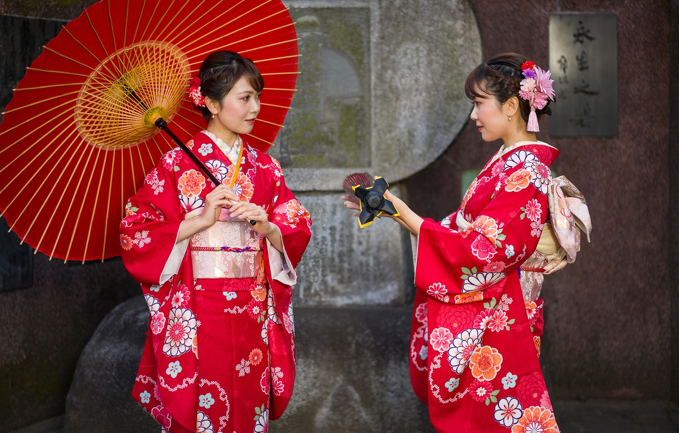 Photo wallpaper style, girls, two, Japanese women, umbrella, kimono, in red, Asian girls, outfits, brown-haired women