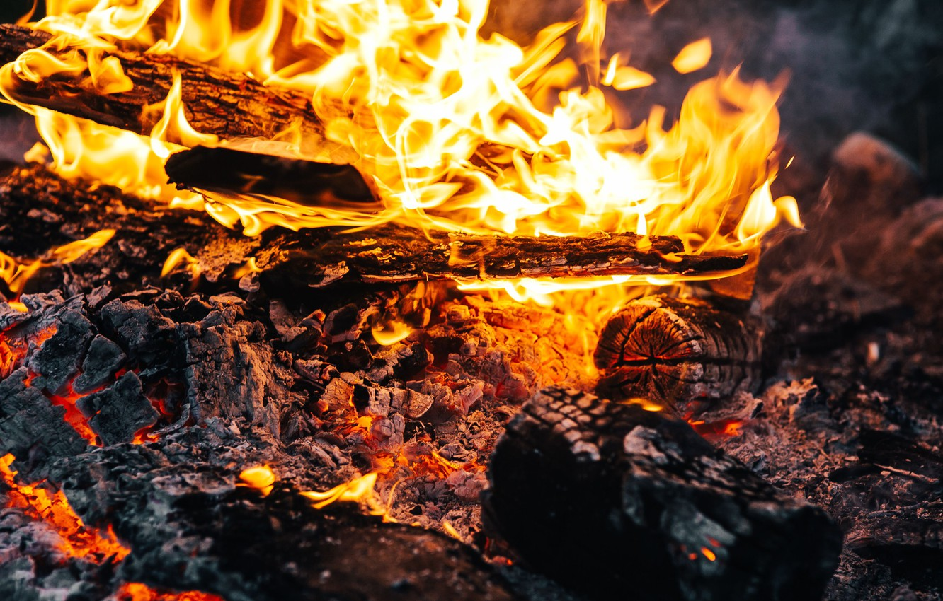 Photo wallpaper flame, wood, the fire, embers