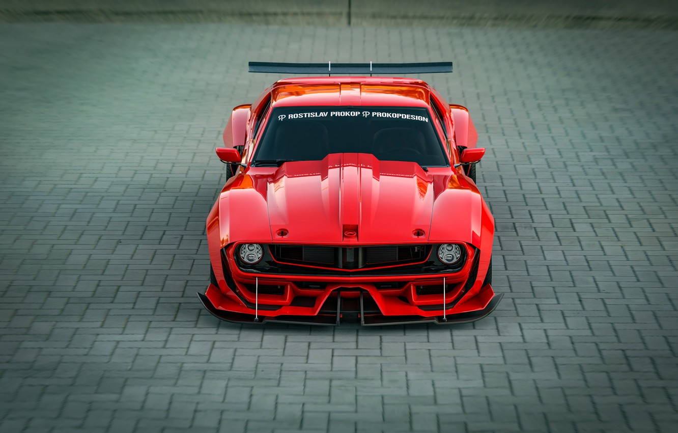 Photo wallpaper Red, Auto, Machine, Tuning, Car, Rendering, Concept Art, The front, Transport & Vehicles, Rostislav Prokop, …