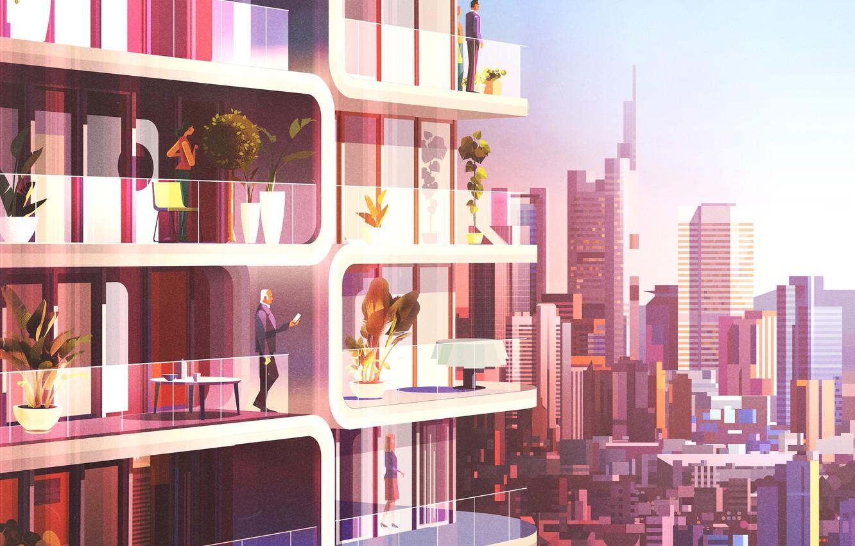 Photo wallpaper Minimalism, The city, People, House, Style, Balcony, The building, Architecture, Art, Art, Frankfurt, Style, Illustration, …