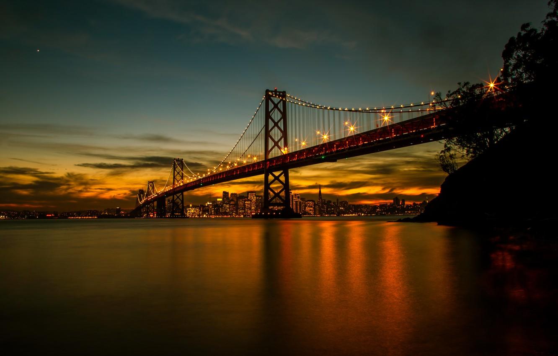 Photo wallpaper lights, bridge, water, night, San Francisco