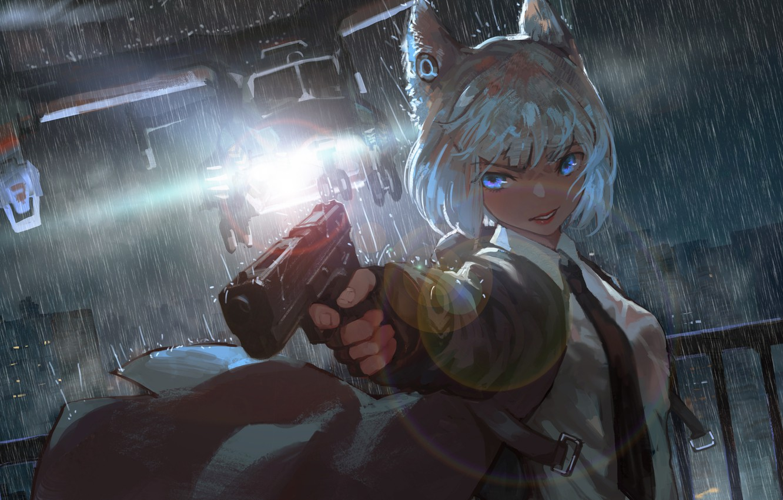Photo wallpaper Girl, Gun, Rain