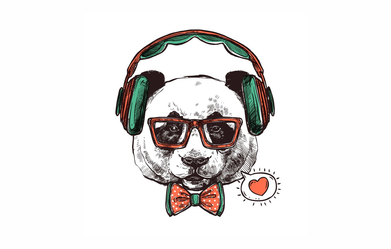 Wallpaper love, headphones, Panda, bow