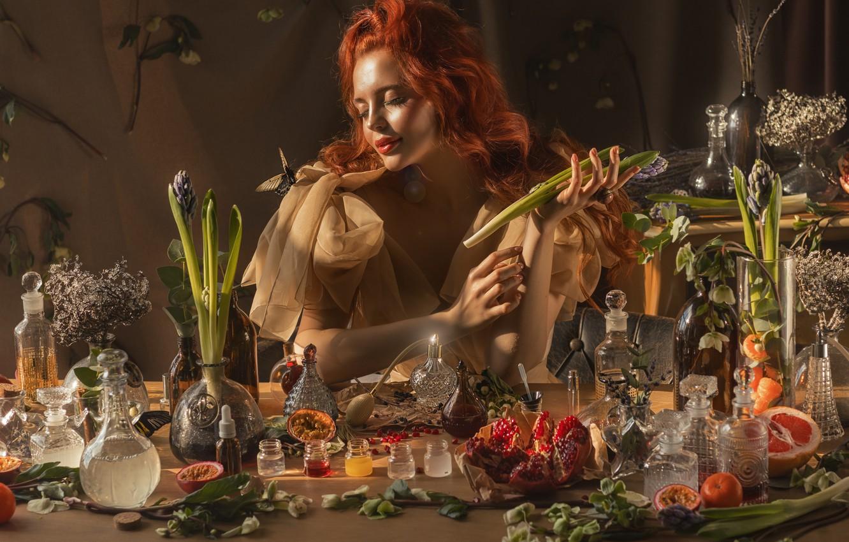 Photo wallpaper mood, butterfly, perfume, red, grass, garnet, hyacinth, bottle, Valeriya Mytnik