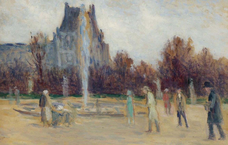Photo wallpaper picture, the urban landscape, Maximilien Luce, Maximilien Luce, At The Fountain