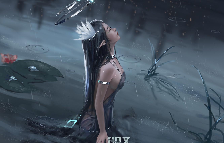 Fantasy Woman Warrior By Lake Art