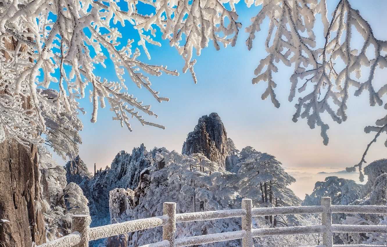 Photo wallpaper winter, snow, trees, landscape, mountains, branches, nature, the fence, China