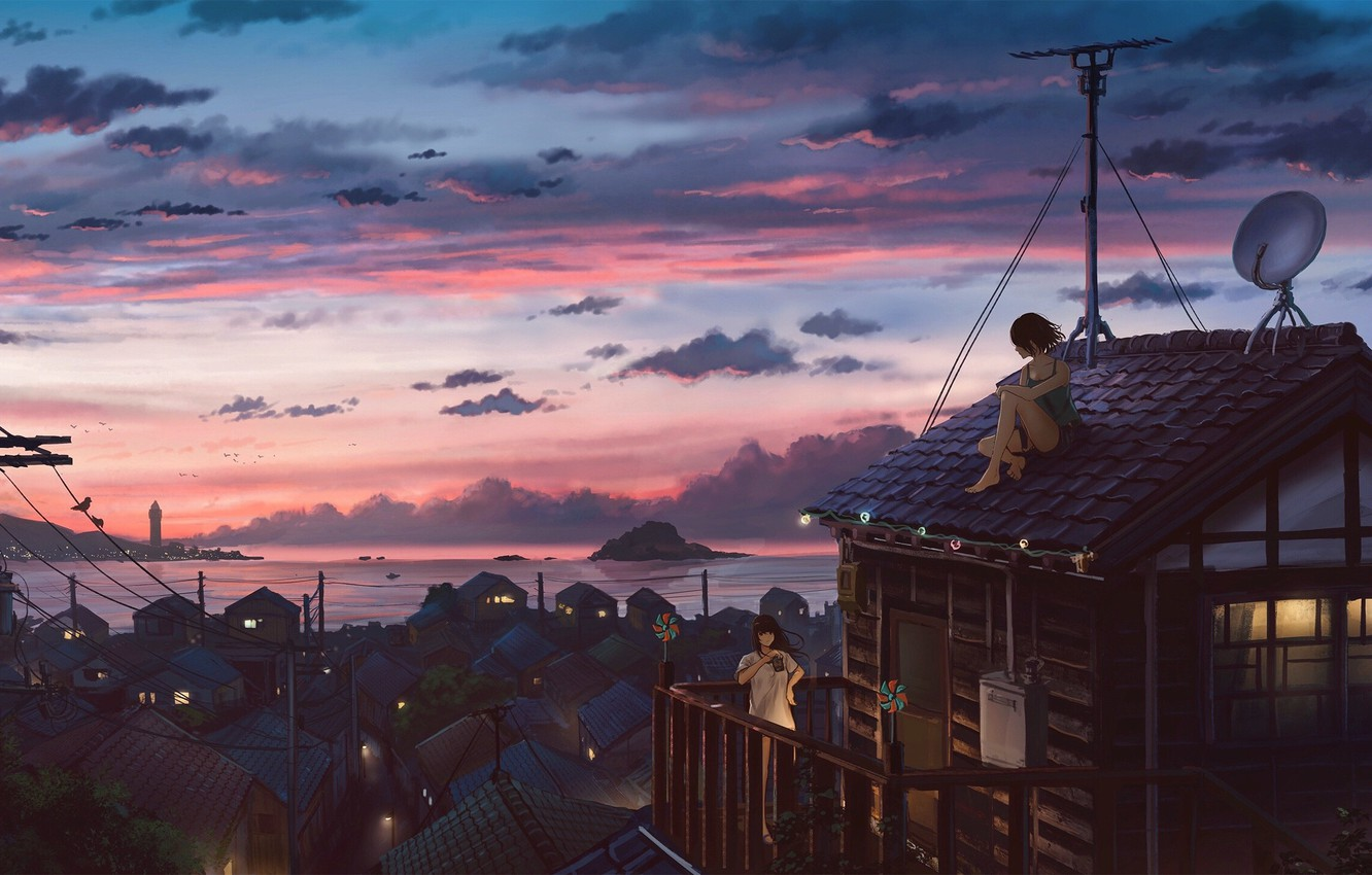Photo wallpaper sea, sunset, posts, wire, antenna, village, the light in the Windows, on the roof, pink …