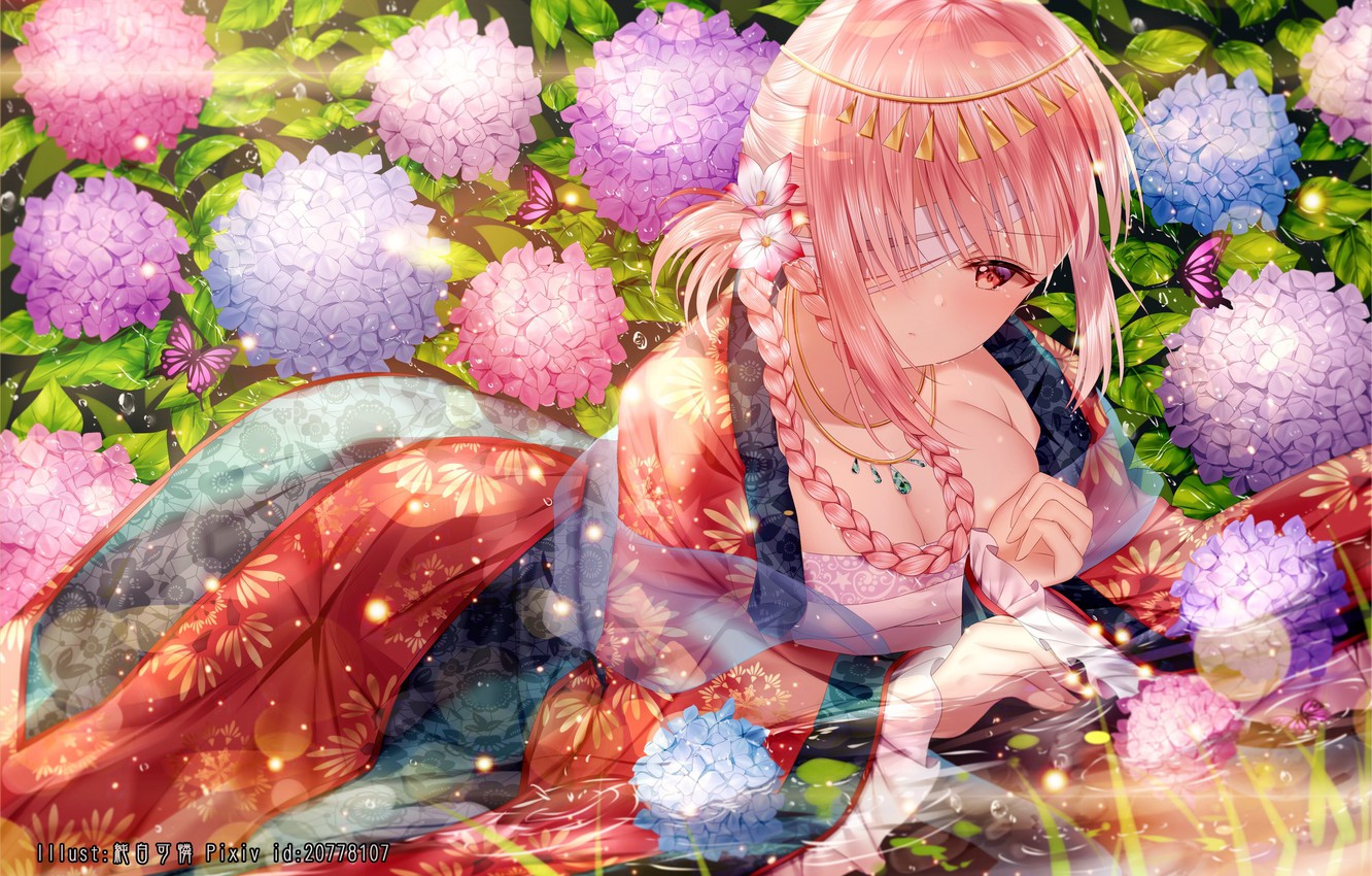 Photo wallpaper Flowers, Girl, art, Fate / Grand Order, The destiny of a great campaign