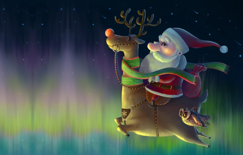 Photo wallpaper night, holiday, owl, stars, Northern lights, deer, art, New year, Santa, pole, children's, Ivan Pilipenko, …