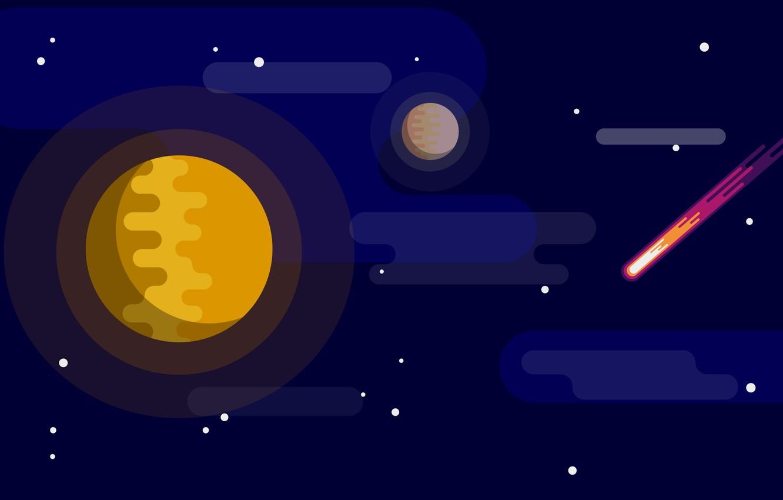 Photo wallpaper dark, space, red, moon, star, minimalism, yellow, blue, art, stars, orange, planet, illustration, comet