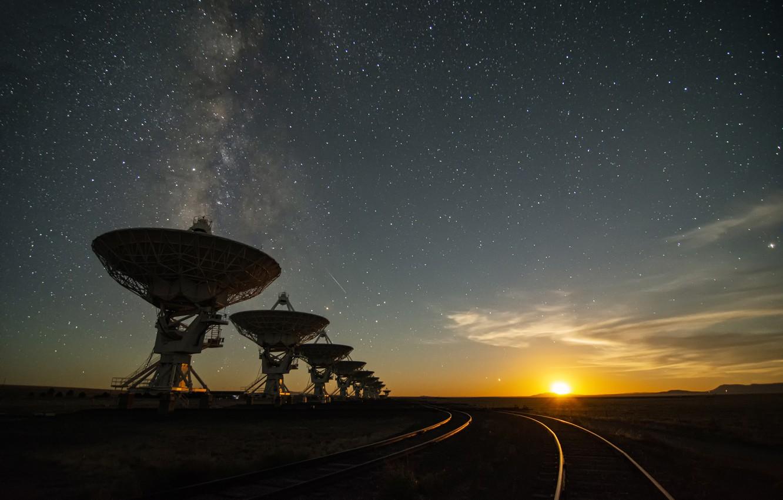 Photo wallpaper stars, The moon, moon, stars, radio telescope, radio telescope, Jeff Hellermann