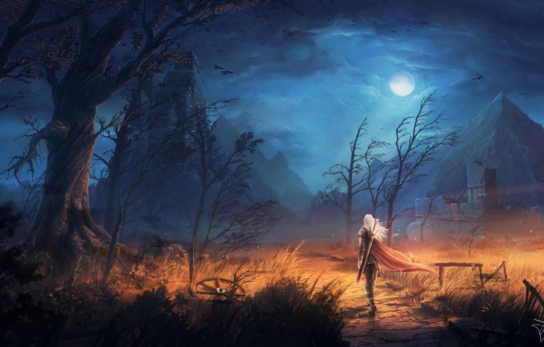 Photo wallpaper moon, sword, fantasy, sky, trees, field, weapon, Warrior, night, mountains, clouds, birds, ruins, castle, digital ...