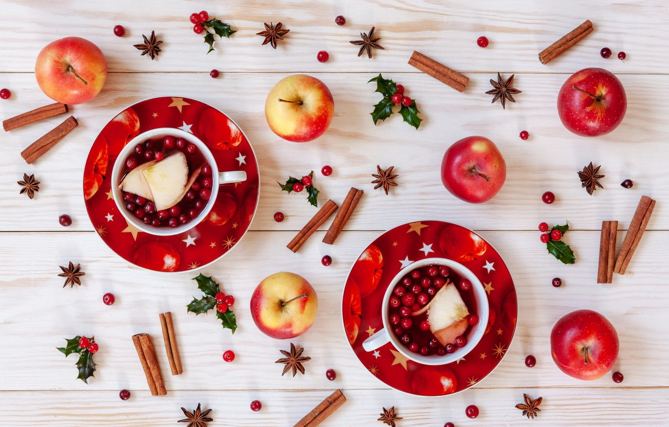 Photo wallpaper berries, apples, Christmas, fruit, cinnamon, Christmas, winter, cup, fruit, berries, tea, apples, decoration, cinnamon, Cup …