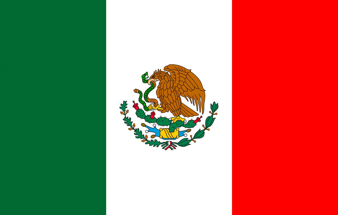 Photo wallpaper flag, Mexico, eagle, coat of arms, eagle, Mexico, flag, mexico