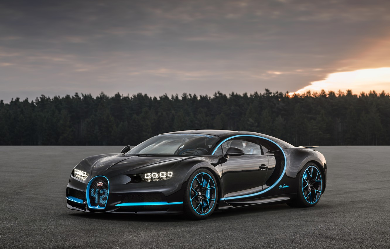 Photo wallpaper Bugatti, Black, 2017, Chiron