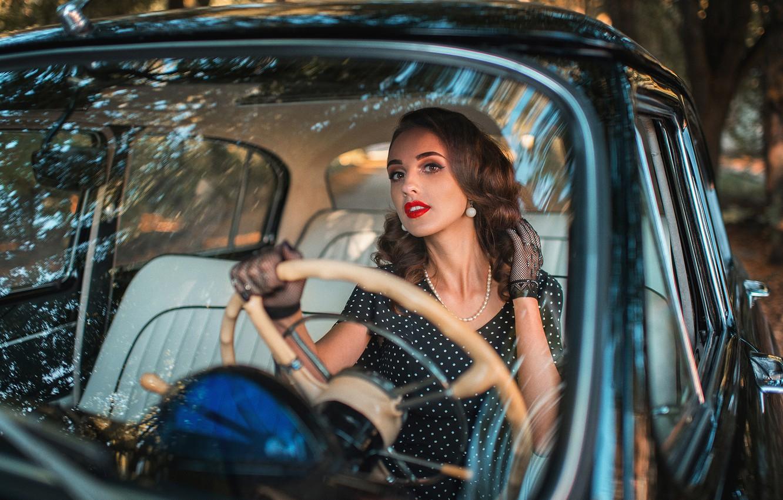 Photo wallpaper machine, girl, decoration, earrings, necklace, makeup, dress, the wheel, gloves, brown hair, car, Alex Sannikov