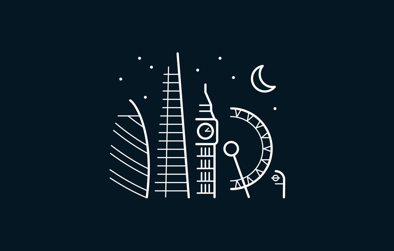 Photo wallpaper moon, minimalism, stars, London, London Eye, digital art, Big Ben, artwork, architecture, United Kingdom, building, …