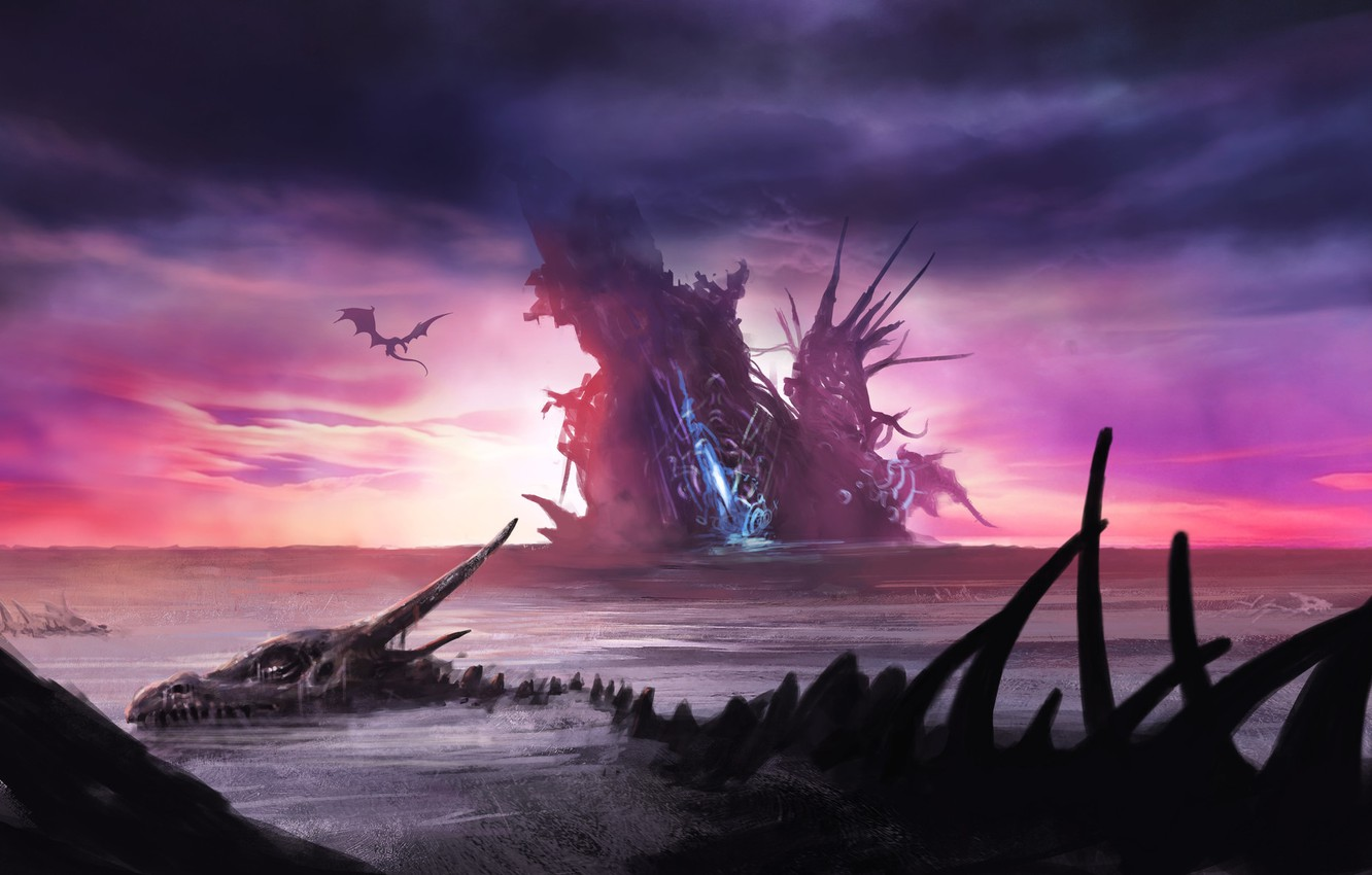 Photo wallpaper The sky, Sea, Dragon, Bones, Fantasy, Art, Fiction, Skeleton, Illustration, Environments, by Tomasz Ryger, Dragon's ...