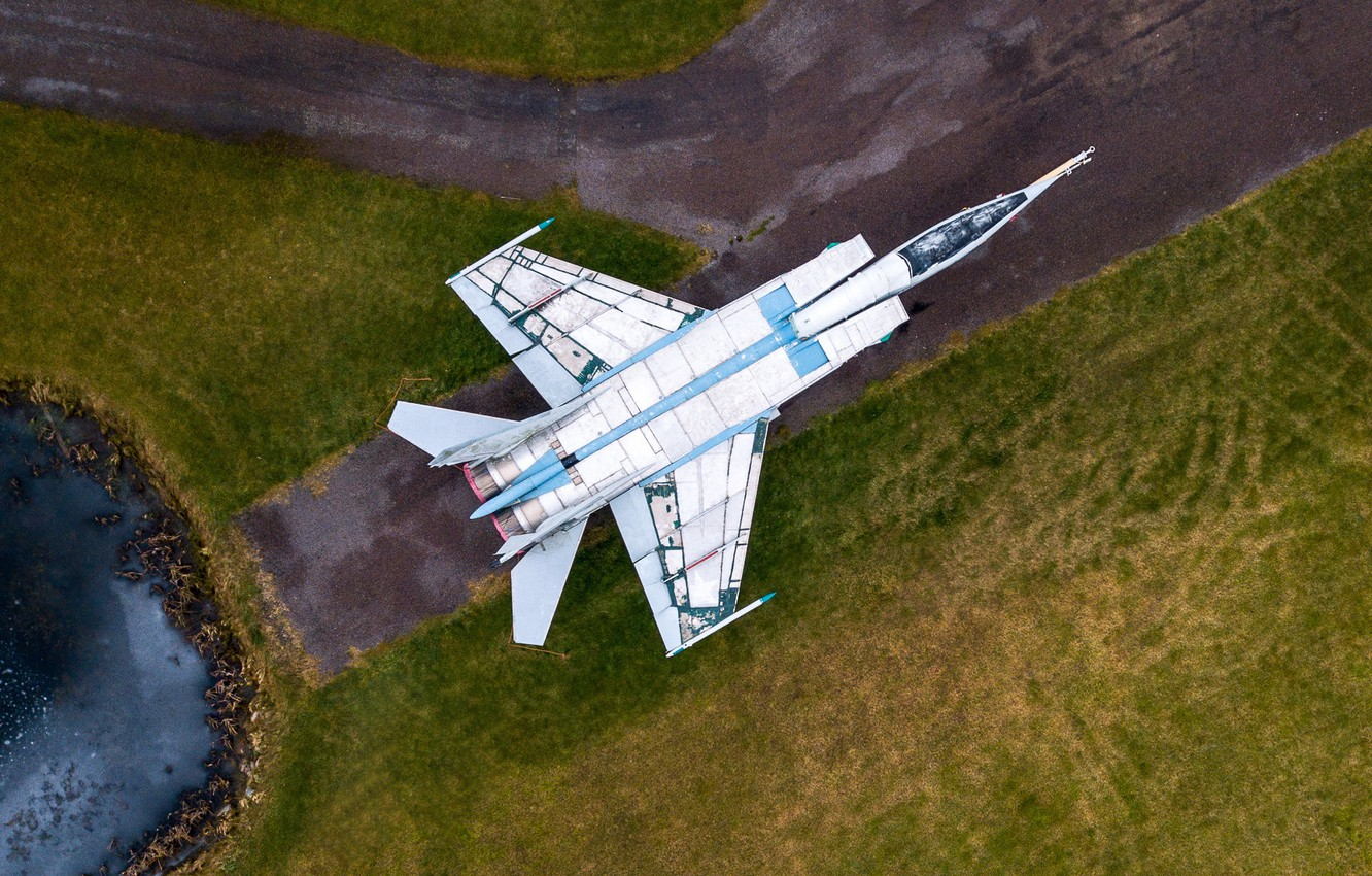 Photo wallpaper The plane, Fighter, Aviation, The view from the top, MiG, fighter-interceptor, Old, The MiG-25, Soviet …