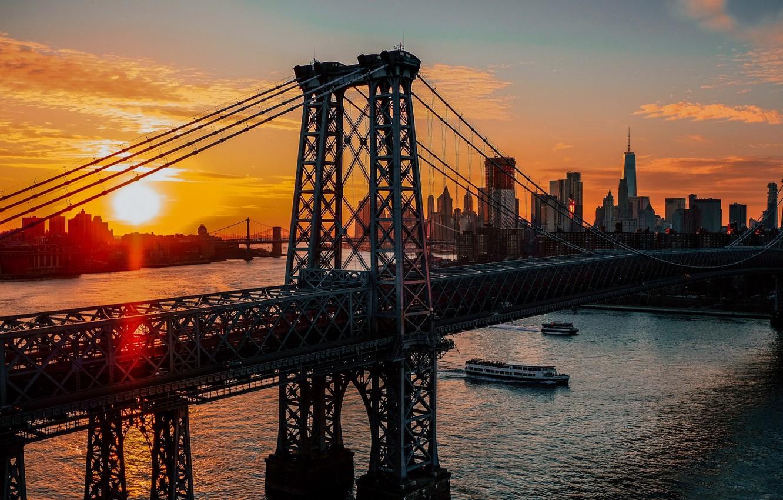 Photo wallpaper city, USA, twilight, river, bridge, sunset, New York, Manhattan, NYC, New York City, sun, architecture, …