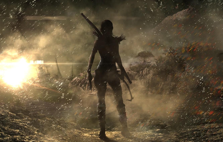 Photo wallpaper Girl, Trees, Fire, Ship, Bow, Tomb Raider, Lara Croft, Crystal Dynamics, Ice pick