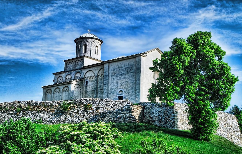 Photo wallpaper tree, Church, WIDESCREEN, SERBIA, CHURCH