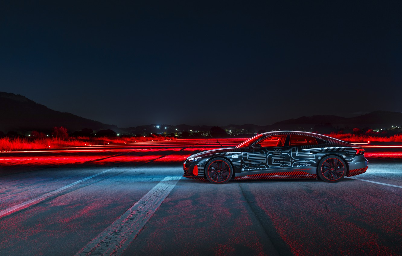 Photo wallpaper light, Audi, coupe, the evening, side view, 2020, RS e-Tron GT Prototype