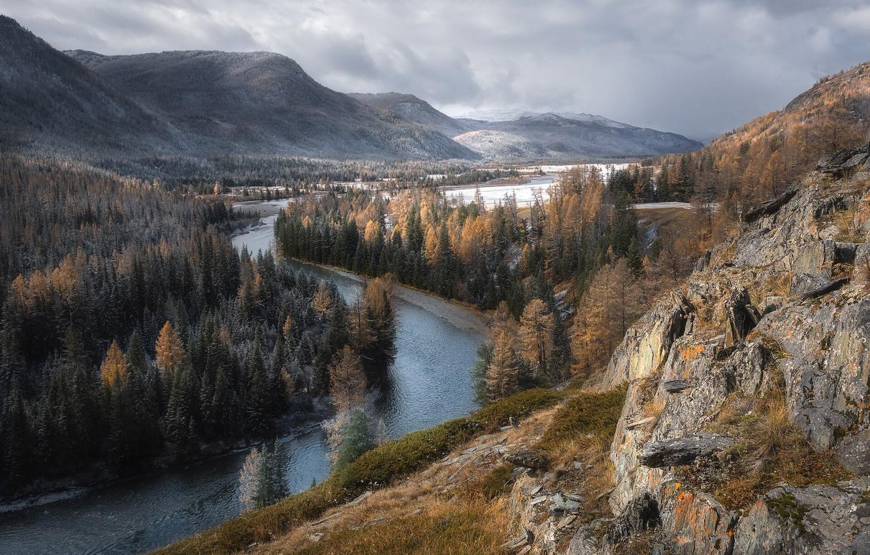 Photo wallpaper autumn, snow, landscape, mountains, nature, river, valley, forest, Altay, Paul Kalinenko, Koksu valley