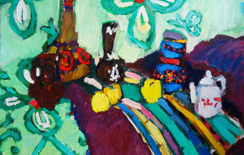 Photo wallpaper apples, chamomile, still life, 2012, striped fabric, The petyaev