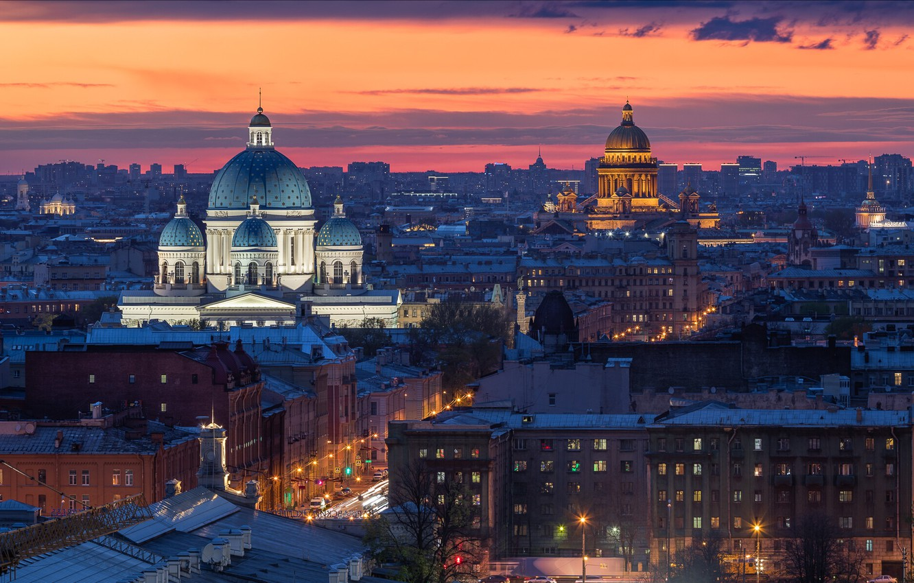 Photo wallpaper the city, building, home, the evening, Peter, lighting, Saint Petersburg, St. Isaac's Cathedral, dome, Trinity …