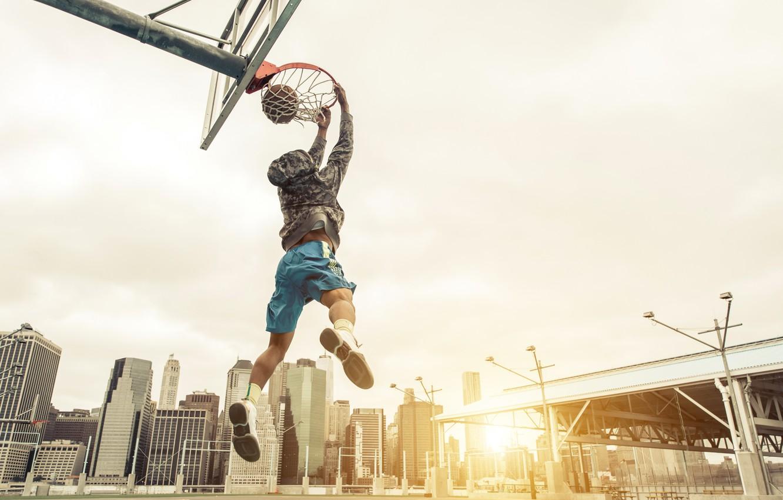 Photo wallpaper photo, The ball, Sport, Jump, Basketball, Male