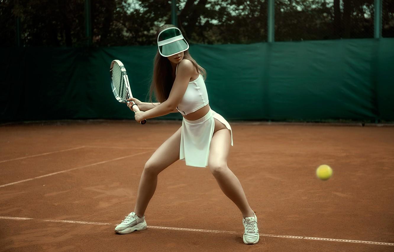 Photo wallpaper pose, the ball, Girl, racket, blow, cap, tennis, Kristina Fedorova, Vadim Aksenov