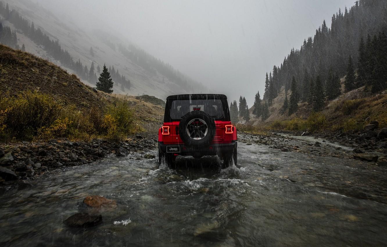 Photo wallpaper red, rain, overcast, rear view, 2018, Jeep, Wrangler Rubicon
