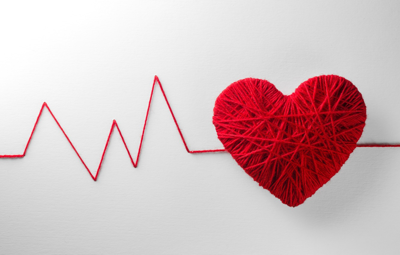 Photo wallpaper tangle, creative, background, heart, red, thread, Valentine's day, pulse