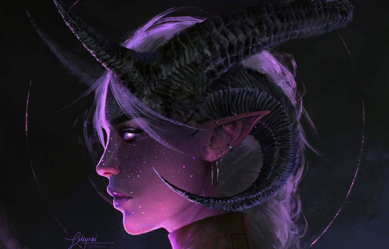 Photo wallpaper face, fantasy, art, horns, demoness, pofile