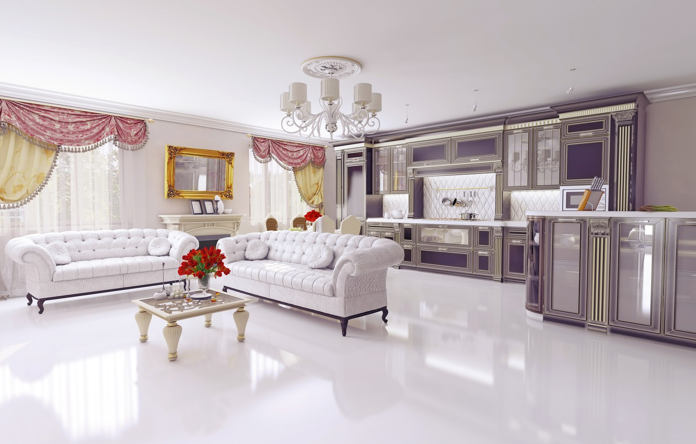 Photo wallpaper design, furniture, interior, chandelier, table, sofas, design, living room, living room, interior