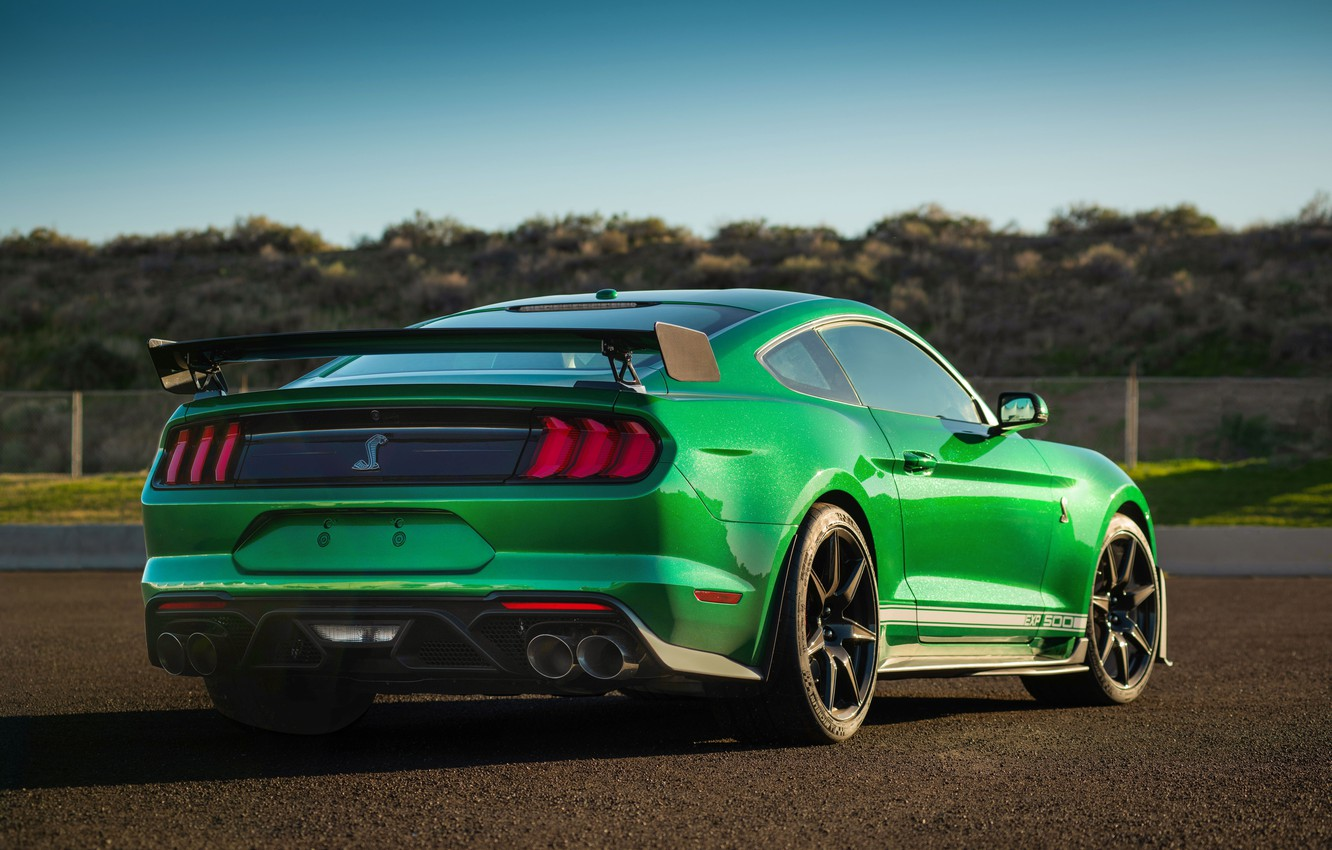 Photo wallpaper Mustang, Ford, Shelby, GT500, rear view, 2020, Green Hornet, EXP 500