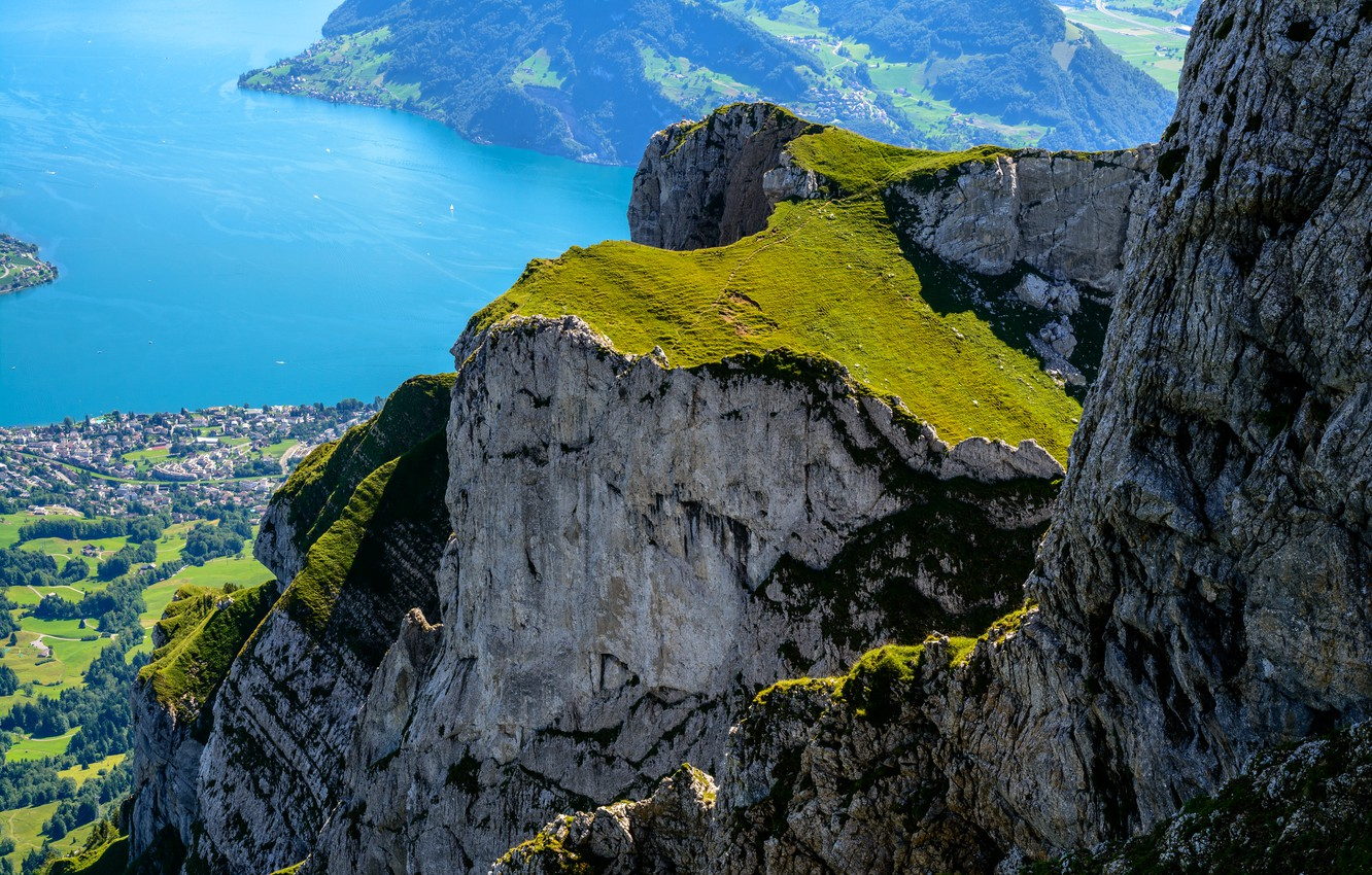 Photo wallpaper Nature, Mountains, Rocks, Switzerland, Alps, Landscape, Pilatus