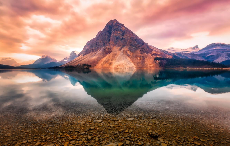 Photo wallpaper water, sunset, reflection, mountain