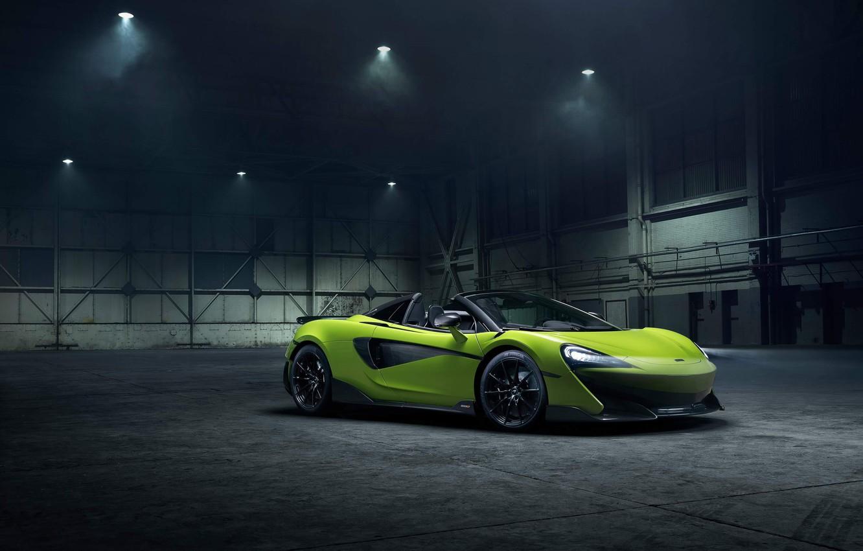 Photo wallpaper machine, style, lights, hangar, Roadster, drives, McLaren 600LT Spider